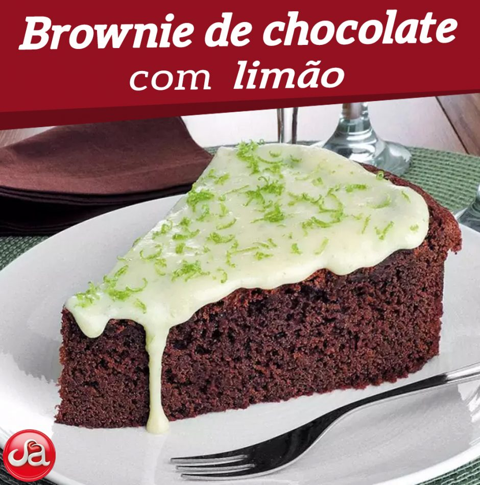 Brownie de chocolate com limão.